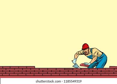 The Builder lays brick masonry below. Pop art retro vector illustration vintage kitsch