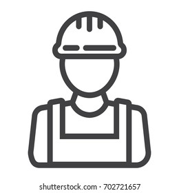 Builder line icon, build and repair, construction worker sign vector graphics, a linear pattern on a white background, eps 10.
