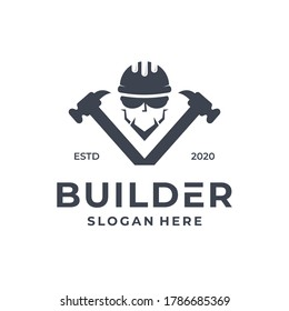 Builder logo concept with hammer element. Construction, industrial, factory or company design template. Vector illustration