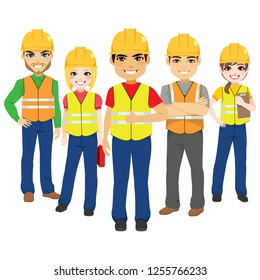 Builder male and female team contractor workers