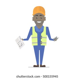 Builder man African American working. Architecture vector construction work