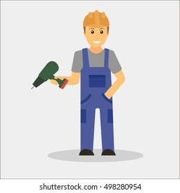 Builder man in blue overall holding drill. Erector in orange helmet. Vector illustration