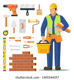 Builder man and icons for building construction. Set of isolated electrical drill and spatula, paint and roller brush, pliers and hammer, ruler and brick wall, trowel, tape measure, screwdriver.Worker