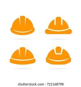 Builder orange safety helmet vector icon illustration isolated on white background