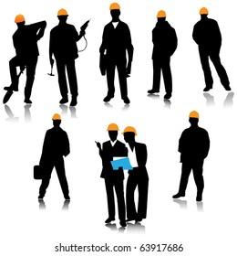 Builder people silhouette.Vector