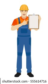 Builder pointing the finger to clipboard. Full length portrait of builder in a flat style. Vector illustration.