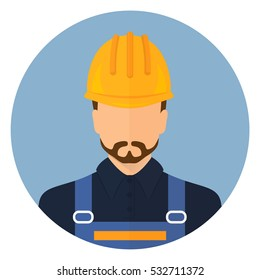 Builder Builder in protective clothing and helmet. Male Builder. Flat design. Stock vector.