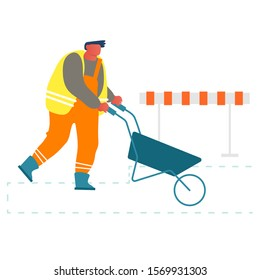 Builder Pushing Wheelbarrow Working on Construction Site or Road Repair. Laborer Wearing Orange Uniform and Vest Using Manual Cart for Removing Soil, Sand and Material Cartoon Flat Vector Illustration