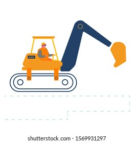 Builder Riding Heavy Excavator Working at Road Repair. Special Heavy Machinery Vehicle Equipment for Crushing Old Asphalt Pavement or Ground on Construction Site. Cartoon Flat Vector Illustration