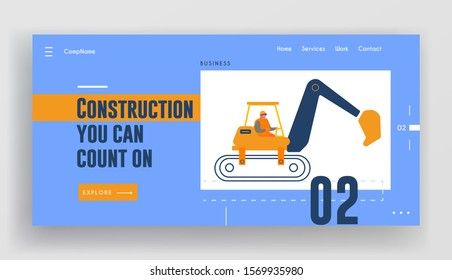 Builder Riding Heavy Excavator Working at Road Repair Website Landing Page. Special Heavy Machine for Crushing Old Asphalt Pavement or Ground on Site Web Page Banner. Cartoon Flat Vector Illustration