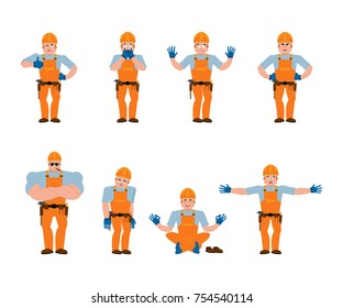 Builder set poses and motion. Worker in protective helmet happy and yoga. Serviceman sleeping and angry. Service worker guilty and sad. Vector illustration