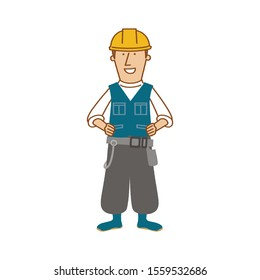 Builder technical man vector logo illustration isolated on white background. Builder worker vector web icon.