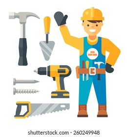 Builder and tools. Flat vector illustration.