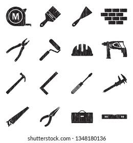 Builder Tools Icons. Black Scribble Design. Vector Illustration.