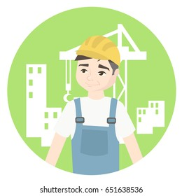 The builder in a white T-shirt and blue overalls stands in a confident position against the backdrop of the city being built