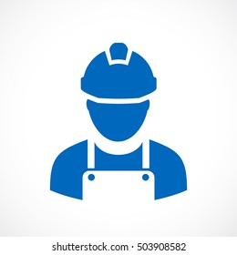 Builder worker icon vector illustration isolated on white background. Builder with hard hat helmet icon. Engineer builder icon.Workman supervisor icon eps.