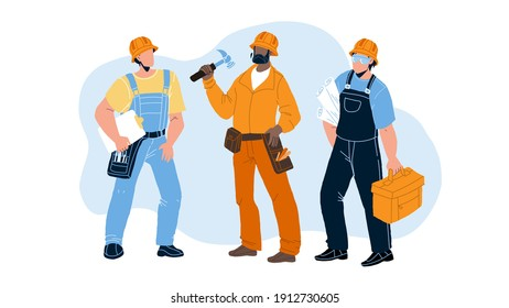Builders With Building Equipment And Plan Vector. Builders Men Wearing Uniform And Protection Hat Holding Tool Box And Build Documentation Draft. Characters Foremen Flat Cartoon Illustration