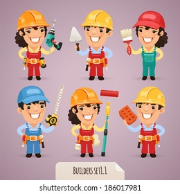 Builders Cartoon Characters Set1.1  In the EPS file, each element is grouped separately.