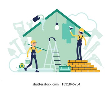 Man Painting House Stock Illustrations, Images & Vectors