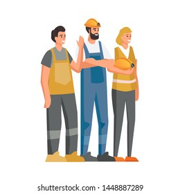Builders dressed in protective vests and helmets. Workers at the construction site. Vector illustration in cartoon style