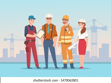 Builders and engineers background. Cartoon factory workers and business characters at construction. Vector illustration team management worker man and woman
