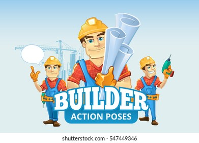 builders or handymans in helmet with construction drawings. Vector illustration set of cartoon characters with place for your text.