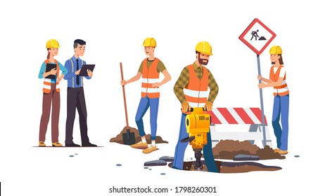 Editores hombres y mujeres reparando carreteras. Trabajadores de la construcción trabajando, cavando hoyos usando palas, jackhammer en la construcción de carreteras. El supervisor toma notas. Ilustración de caracteres vectoriales planos