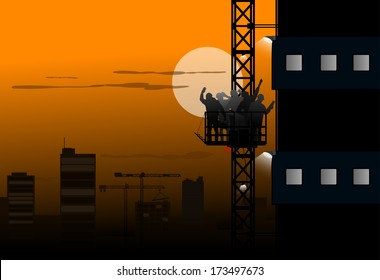 builders at night