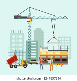 Builders on the construction site. Building work process with houses and construction machines. Vector illustration with people.