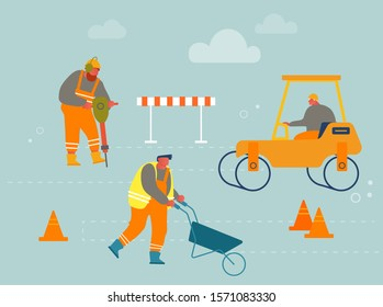 Builders in Overalls with Heavy Asphalting Machinery Roadwork and Asphalt Paving. Special Transport, Pavement Compactor. Construction Industry, Building Business. Cartoon Flat Vector Illustration