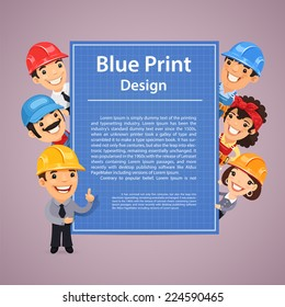 Builders Presenting Blue Print Poster. In the EPS file, each element is grouped separately.
