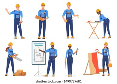 Builders in uniform flat vector characters set. Construction workers in blue jumpsuits and hardhats. Cartoon engineers, architects, repairmen at work. Women breaking stereotypes. Racial equality idea