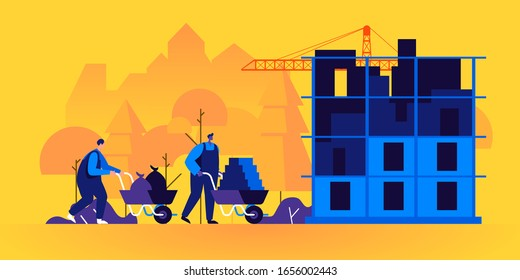 Builders working on construction site. Pair of workers using wheelbarrows to carry bricks and constructing building. City engineering, urban development. Modern flat cartoon vector illustration.
