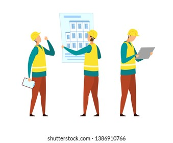 Builders in Yellow Vests Cartoon Characters Set. Building Business, Industry. Foreman with Clipboard Giving Orders, Engineer Checking Schematics. Construction Site Isolated Design Elements