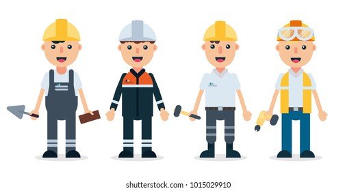 Builders/Technician and engineers with buiding tools. Professionals team workers set in safety helmet hard hat and uniform. People teamwork. Flat style, isolated cartoon characters