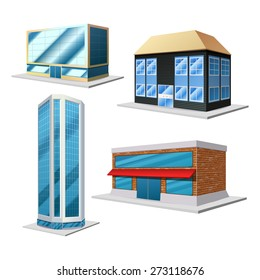 Building 3d decorative set with four different modern house isolated on the white background isolated vector illustration