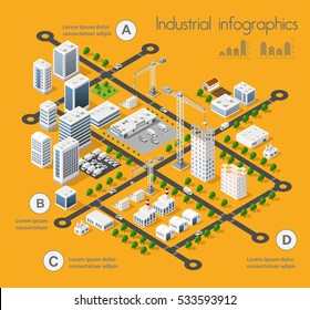 Building 3D industry construction of isometric infographics of flat design with urban landscape and industrial factory buildings and vector illustration