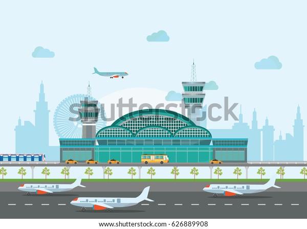 Building Airport Runway Plane Travel Conceptual Stock Vector
