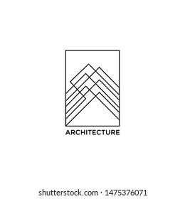 building architect construction idea logo design vector icon illustration with mono line style