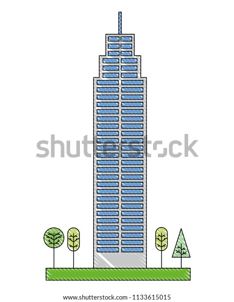 Building Architecture Skyscraper Tree Natural Stock Vector ...