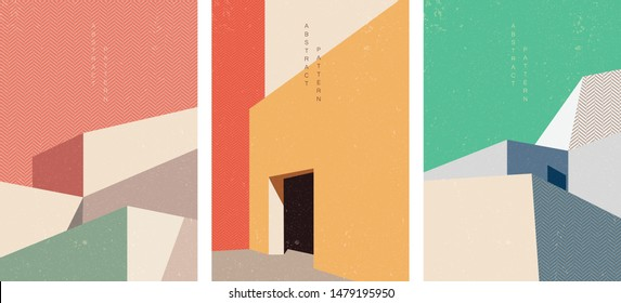 Building background with Japanese pattern vector. Geometric template. Light and shadow. Abstract in architecture illustration.
