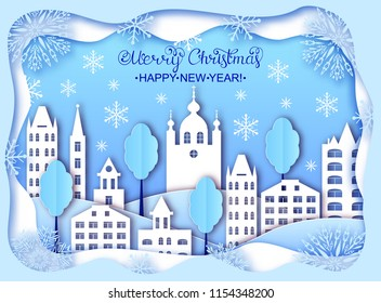 Building of big city and clouds in winter. Paper art style. Christmas and Happy New Year card.