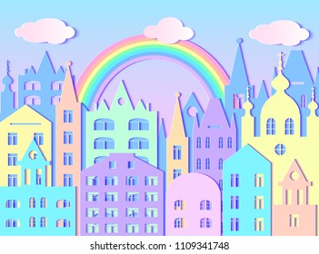 Building of big city, rainbow and clouds. Vector illustration. Paper art style
