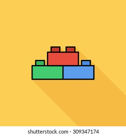 Building block icon. Flat vector related icon with long shadow for web and mobile applications. It can be used as - logo, pictogram, icon, infographic element. Vector Illustration.