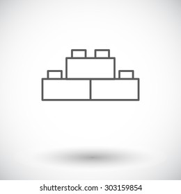 Building block icon. Thin line flat vector related icon for web and mobile applications. It can be used as - logo, pictogram, icon, infographic element. Vector Illustration.