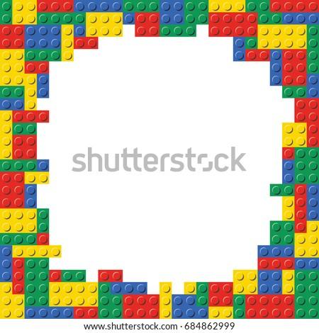 Building Blocks Brick Border Frame Background Stock Vektorgrafik