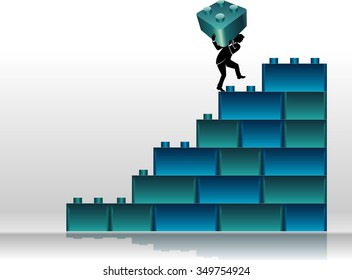 Building Blocks Graph-Abstract business concept of a businessman placing large block on the chart
