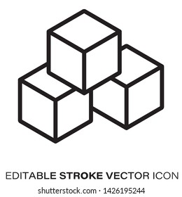 Building blocks line icon. Outline symbol of toys and construction. Editable stroke flat vector illustration.