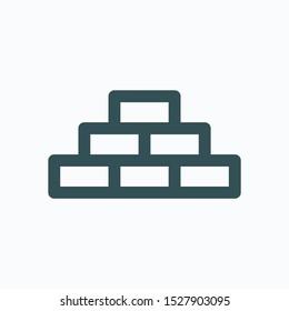 Building bricks isolated icon, construction blocks linear vector icon
