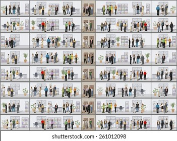 Building with business people in offices